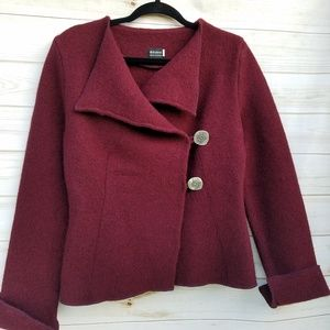Beautiful hand made wool crossover jacket wine S